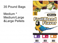 ZuPreem Fruit Blend 35 Lb Bags Medium, Medium Large Or Large Pellets (Fruit Blend 35 Lb Bags, Choose Pellet Size: Medium Pellets-Cockatiels, Love Birds, Etc.)